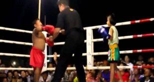 anak kecil menangis ketakutan di ring tinju